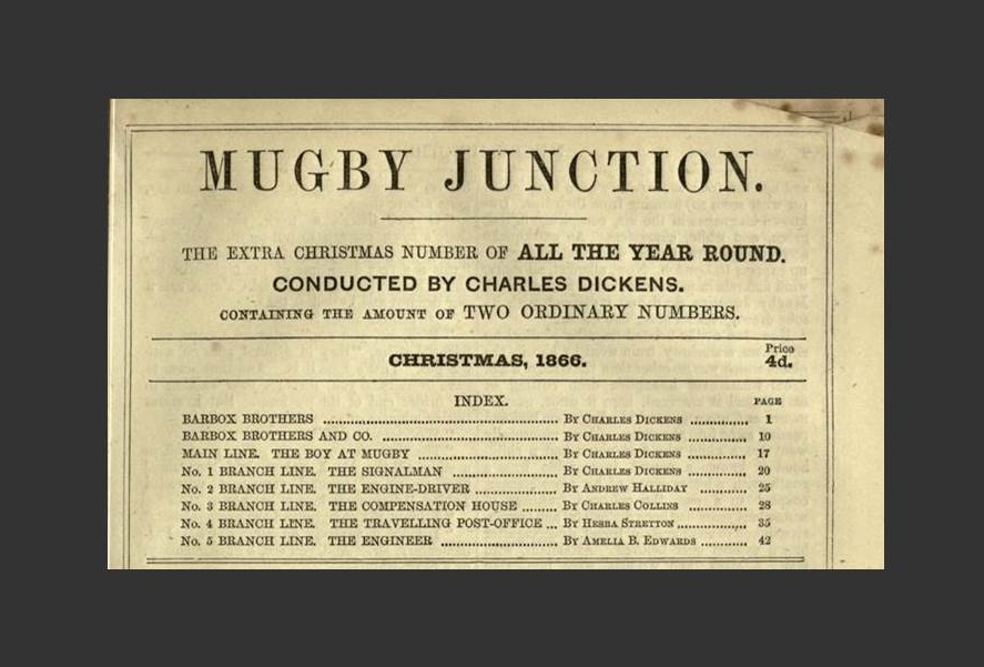 The table of contents from Dickens's Mugby Junction, published in All the Year Round, 1866.