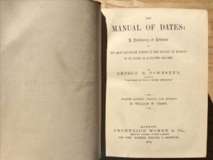 Frontispiece for George H. Townsend, The Manual of Dates: A Dictionary of Reference to the Most Important Events in the History of Mankind to be Found in Authentic Records, ed. by William W. Croft, 4th ed. (1862; London: Frederick Warne and Co., 1874), p. iii